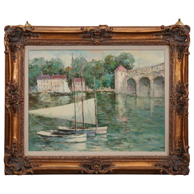 Impressionist Style Oil Painting of Sailboats Moored in a European Town