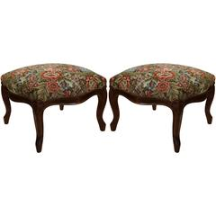 Pair of Mid-20th Century French Louis XV Walnut Footstools