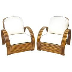 Rattan Lounge Chairs (Pair) with Ottoman