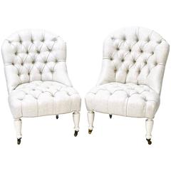Antique Tufted Slipper Chairs