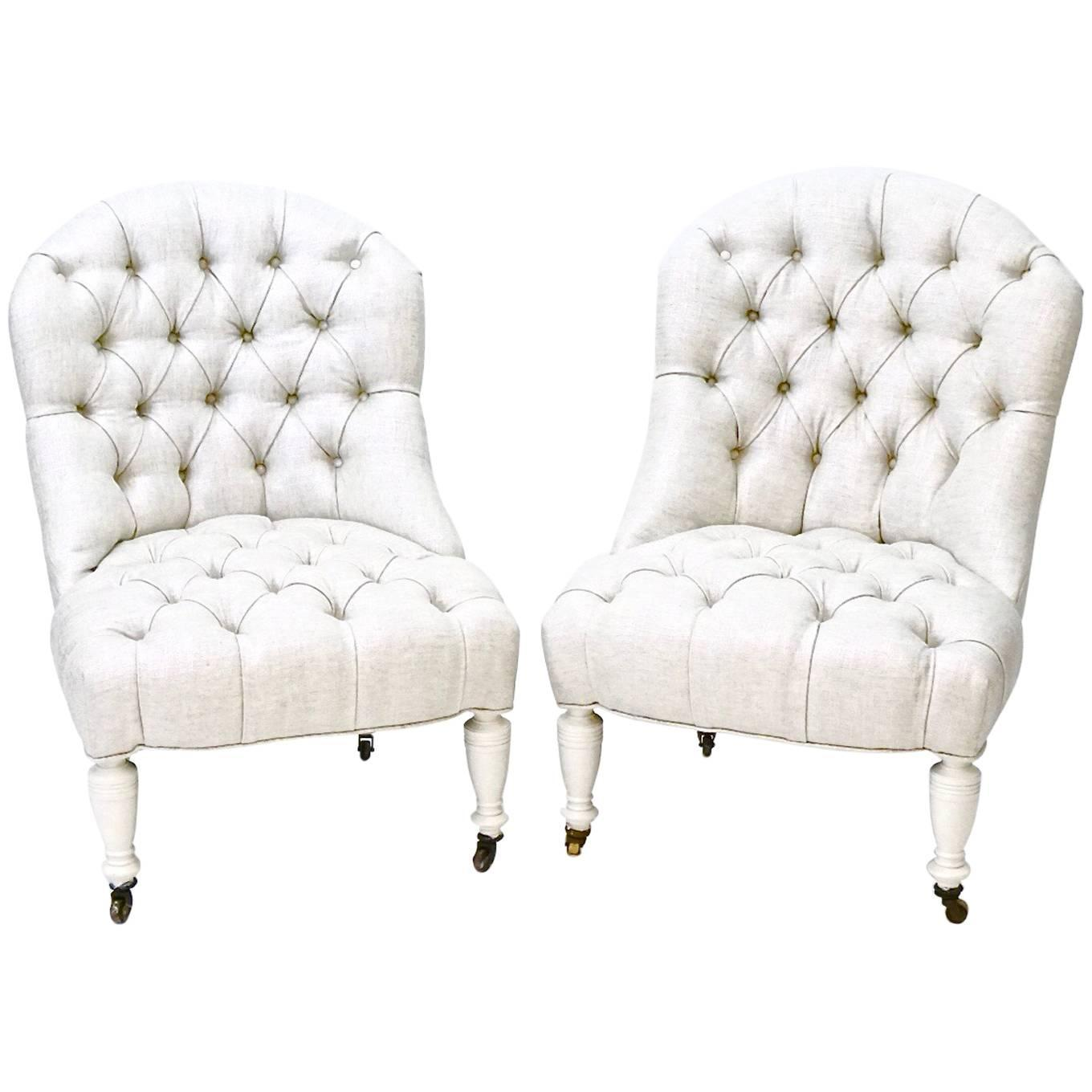 Antique Tufted Slipper Chairs (Pair) Newly Upholstered In