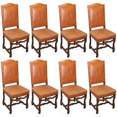 Set of Eight Os De Mouton Chairs in Leather with Nailhead Trim