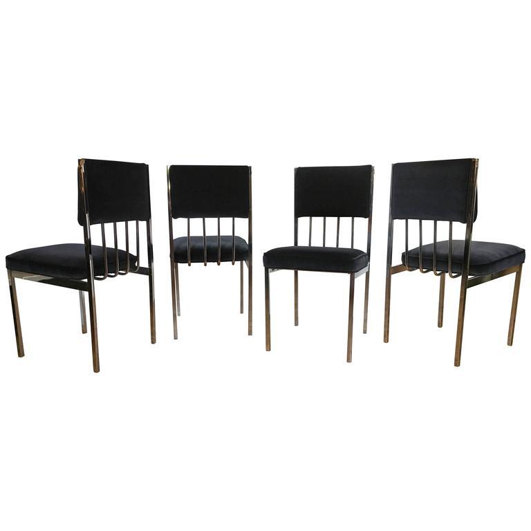 Milo Baughman Style Mid-Century Modern Tubular Chrome Dining Chairs, 1970's