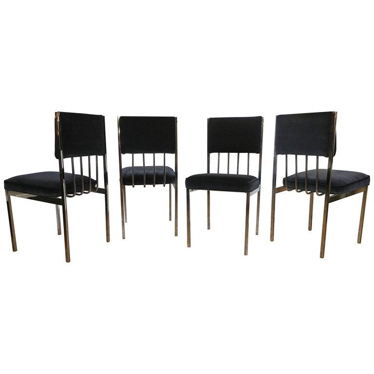 Milo Baughman Style Mid-Century Modern Tubular Chrome Dining Chairs, 1970's  For Sale