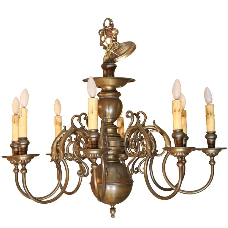 Brass Eight Light Chandelier Nicely Detailed For Sale At