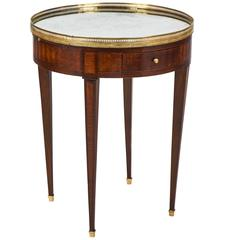 French Louis XVI Mirror-Top Marqueted Bouillotte Table