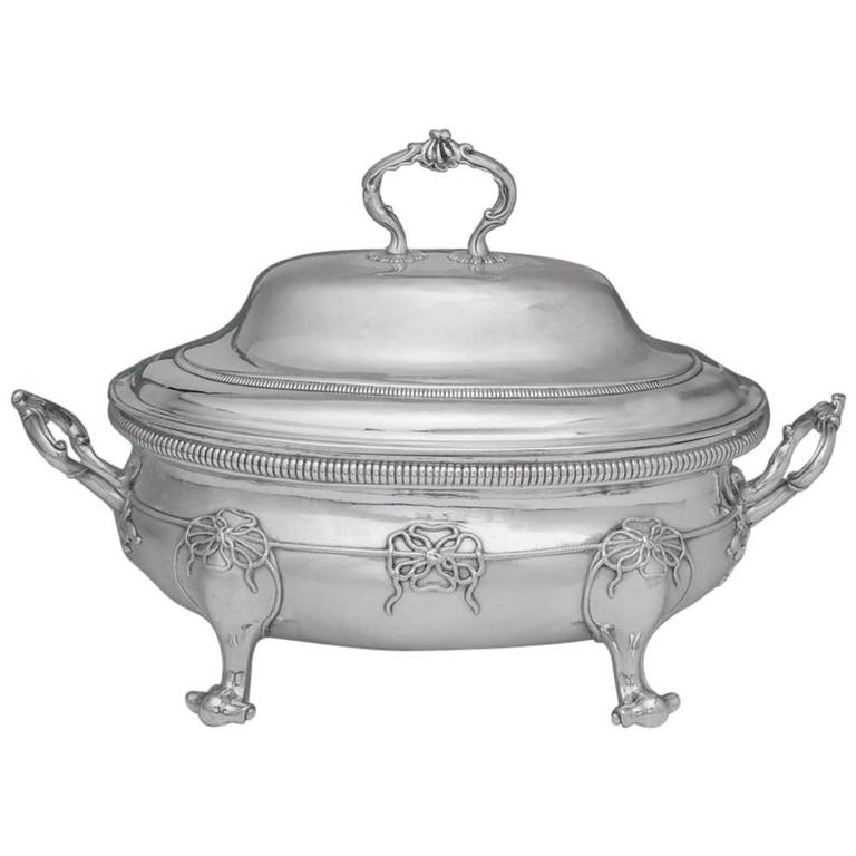 George III Antique English Silver Soup Tureen and Cover