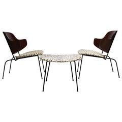 Rare IB Kofod Larsen Penguin Chairs and Ottoman in Leopard Print Appaloosa Hair