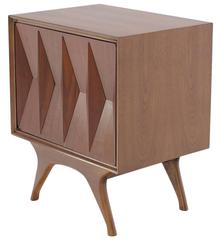 Diamond Front Walnut Mid-Century Modern End Side Table One Door Cabinet