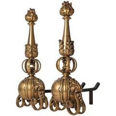 Gilded Bronze Andirons
