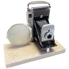 Polaroid Vintage Camera, circa 1957, Pristine, Cool, Mounted on a Slab of Stone