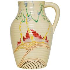 Rare Clarice Cliff Ceramic Art Pottery Jug Pot Vase in Red and Green