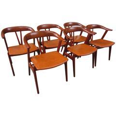 Erik Kirkegaard Teak Dining Chairs for Hong Stolefabrik