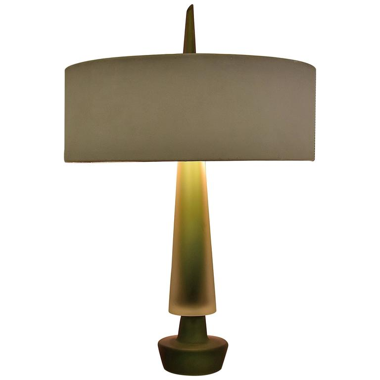 handblown green glass table lamp late 1940s at 1stdibs. Black Bedroom Furniture Sets. Home Design Ideas