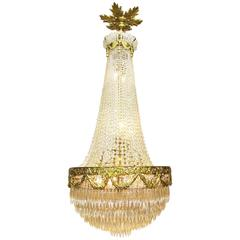 French 19th-20th Century Louis XVI Style Gilt Bronze and Cut-Glass Chandelier