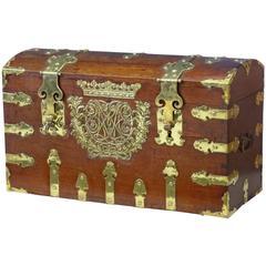 Rare 18th Century Oak and Brass Silk Road Coffer Box