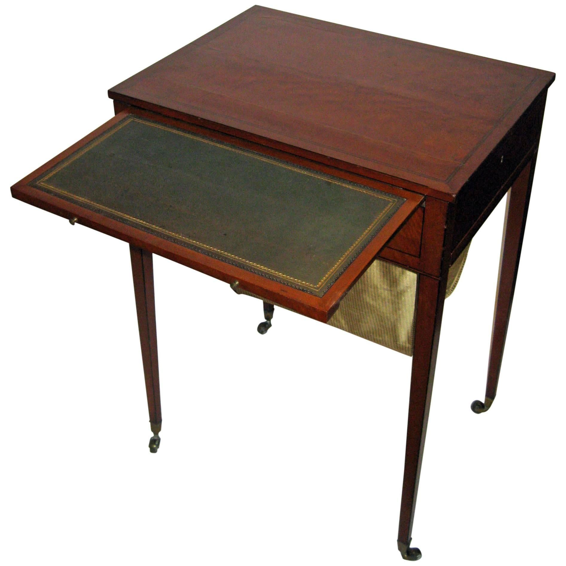 18th century Hepplewhite Satinwood Writing Table with Work with Silk Basket