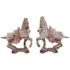 Antique Asian Carved Wood Horse Pair