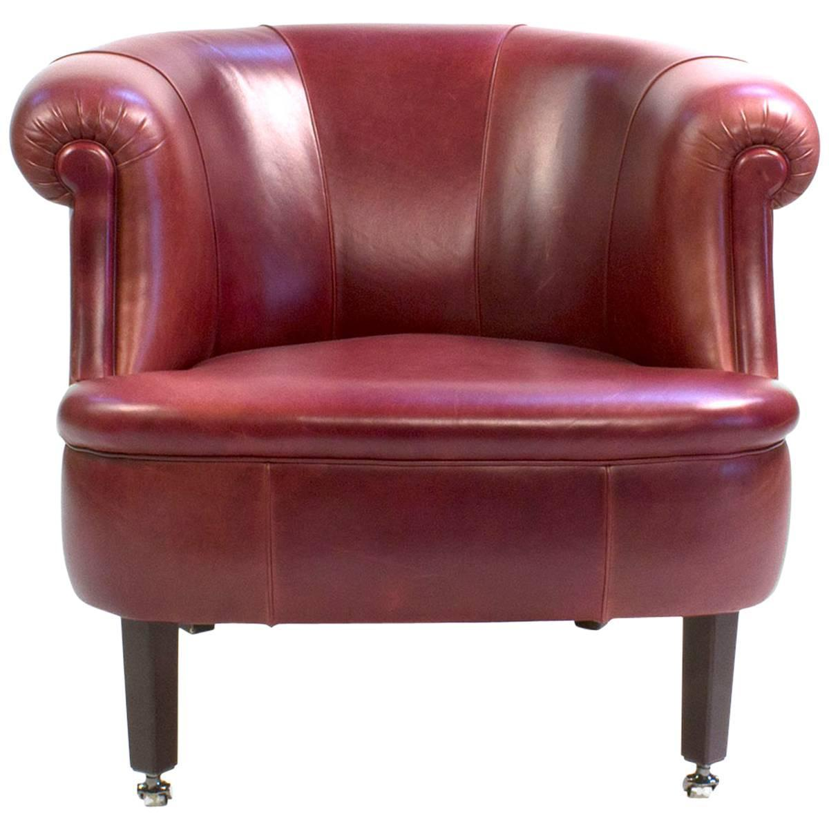red leather poltrona frau lyra club armchair by renzo frau. Black Bedroom Furniture Sets. Home Design Ideas