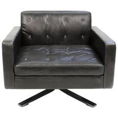 Black Leather Poltrona Frau Kennedee Swivel Armchair by Jean-Marie Massaud Italy