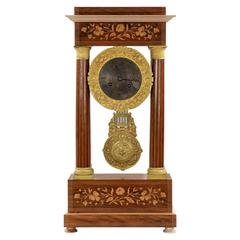 19th Century Antique Mantel Clock in French Empire Style Inlaid Rosewood Portico