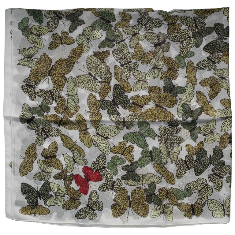 Butterflies Silk Scarf Crepe, Made in Italy For Sale