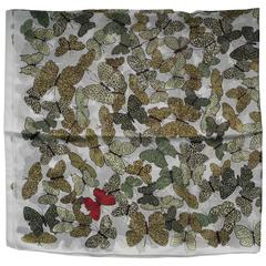 Butterflies Silk Scarf Crepe, Made in Italy