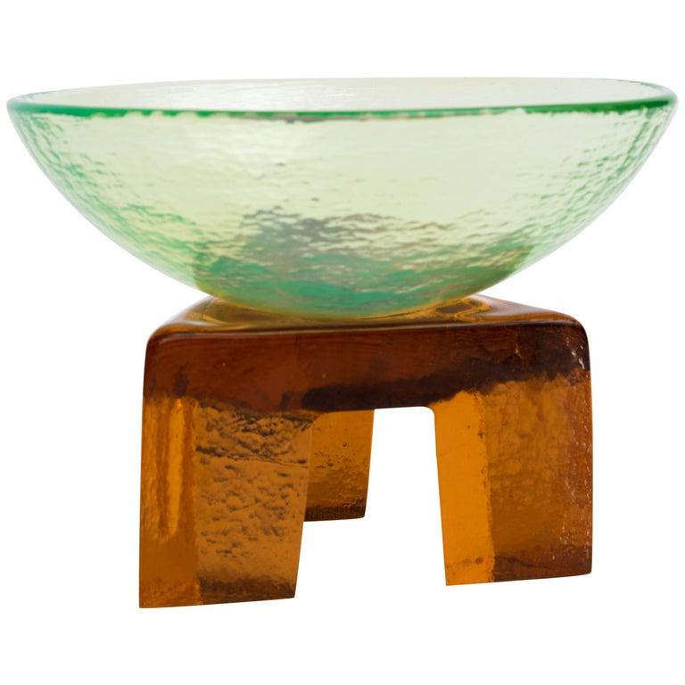 Memphis Style Art Glass Elemental Bowl Sculpture For Sale