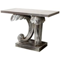 Dorothy Draper Style Painted Console Stylized C-Scroll Base