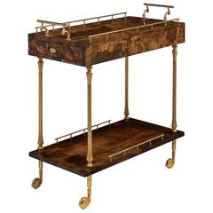 Vintage French Lacquered Goatskin and Brass Bar Cart by Aldo Tura