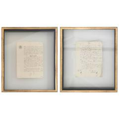 Pair of French Manuscripts Floating Behind Glass Shadow Box Frames