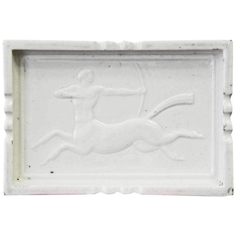 """Centaur with Bow,"" Highly Rare Art Deco Dish with Bas Relief by Williams For Sale"