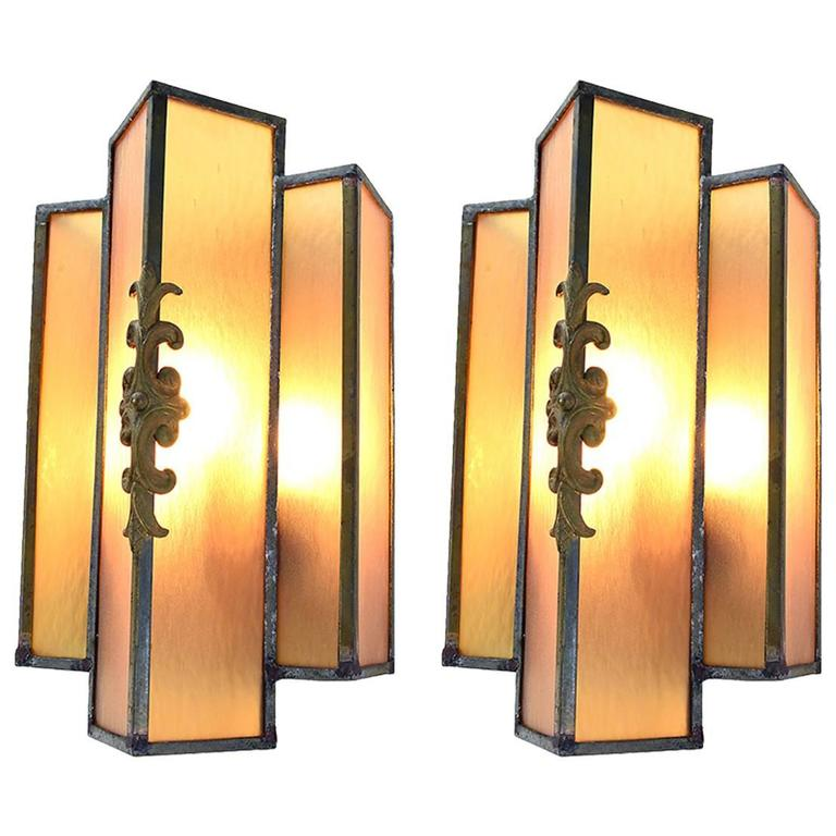 Pair of Art Deco Stained Glass Sconce