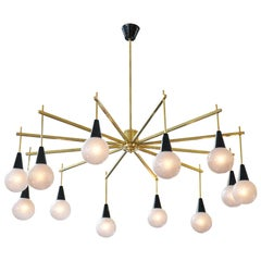 Mid-Century Modern Brass and Murano Glass Chandelier