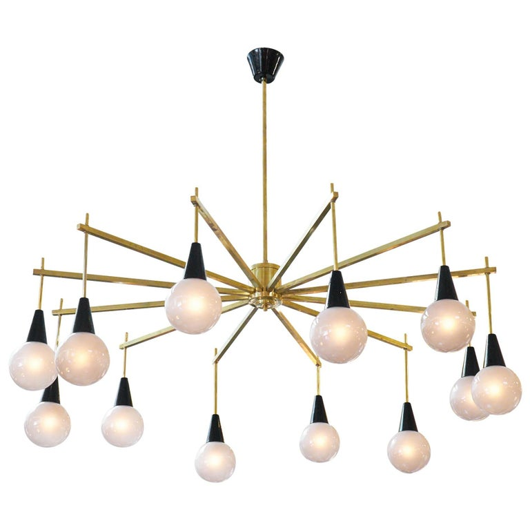 Mid-Century Modern Brass and Murano Glass Chandelier For Sale