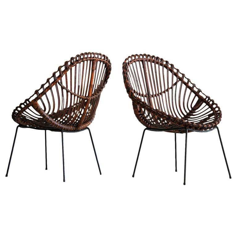 Sculptural Italian Rattan Chairs