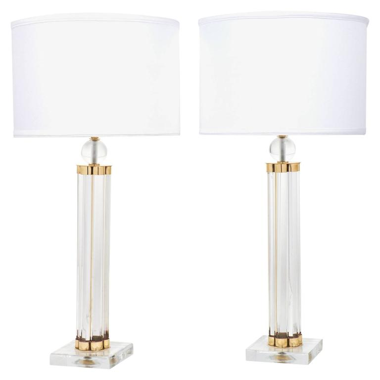 Pair of Murano Glass Tube and Brass Table Lamps