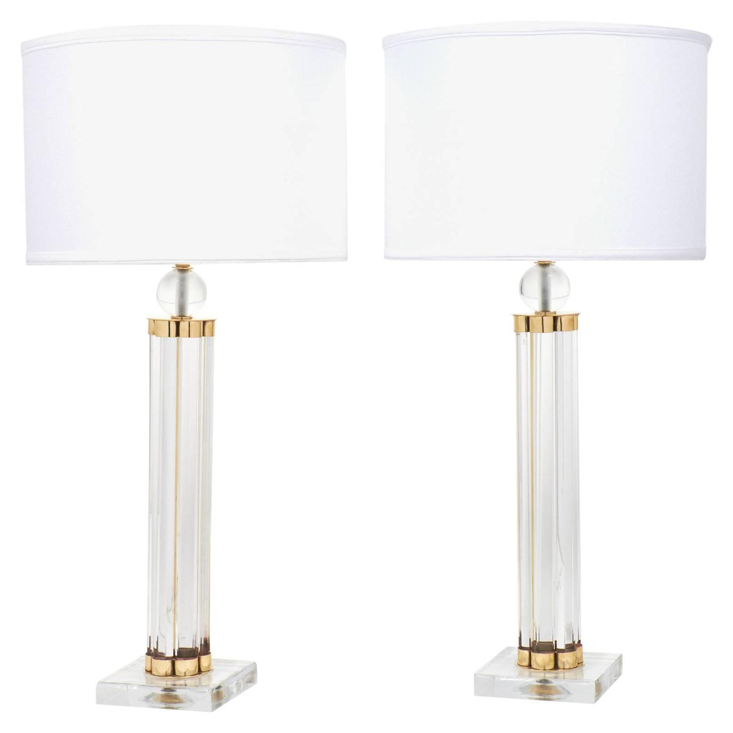 Pair of murano glass tube and brass table lamps for sale at 1stdibs aloadofball Gallery