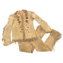 Antique Native American Beaded Hide Outfit, Ute, circa 1900