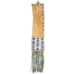 Antique Plains Beaded Pipe Bag (Tobacco Bag), Arapaho, circa 1870 Classic Period