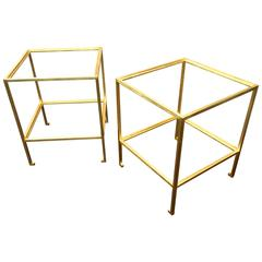 Maison Ramsay Pair of Gold Leaf Wrought Iron Two-Tier Coffee Tables
