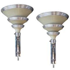 Machine Age Art Deco Wall Sconces by Edward Kent for Railley Corp