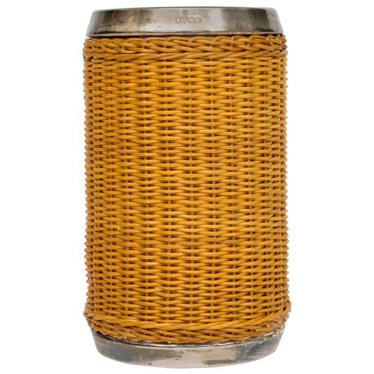 Gucci Wicker & Silver Plate Wine Cooler