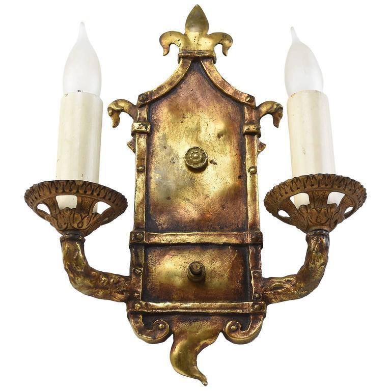 Cast Brass Arts & Crafts Sconce