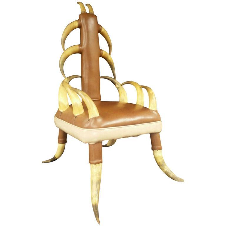 Vintage Steer Horn Parlor Chair