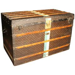 1890s Extra Large Louis Vuitton Checkered Monogram Steamer Trunk