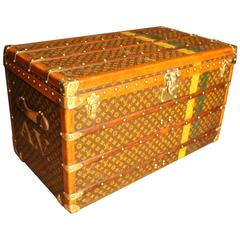 1930s Large Louis Vuitton Monogram Stenciled Courier Steamer Trunk