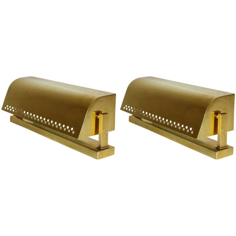 Pair of Brass Sconces Mid-Century Modern, 1950s, Italy