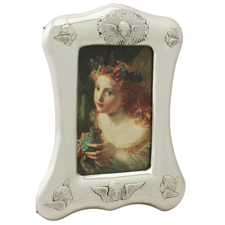 Antique Victorian Sterling Silver Photograph Frame For Sale