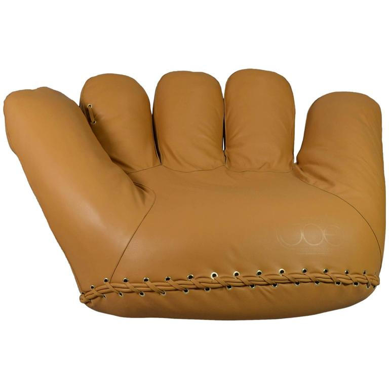 Joe baseball glove lounge chair leather at 1stdibs Shameless karen and joe sofa